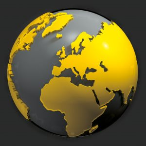 A globe showing the continents in yellow color