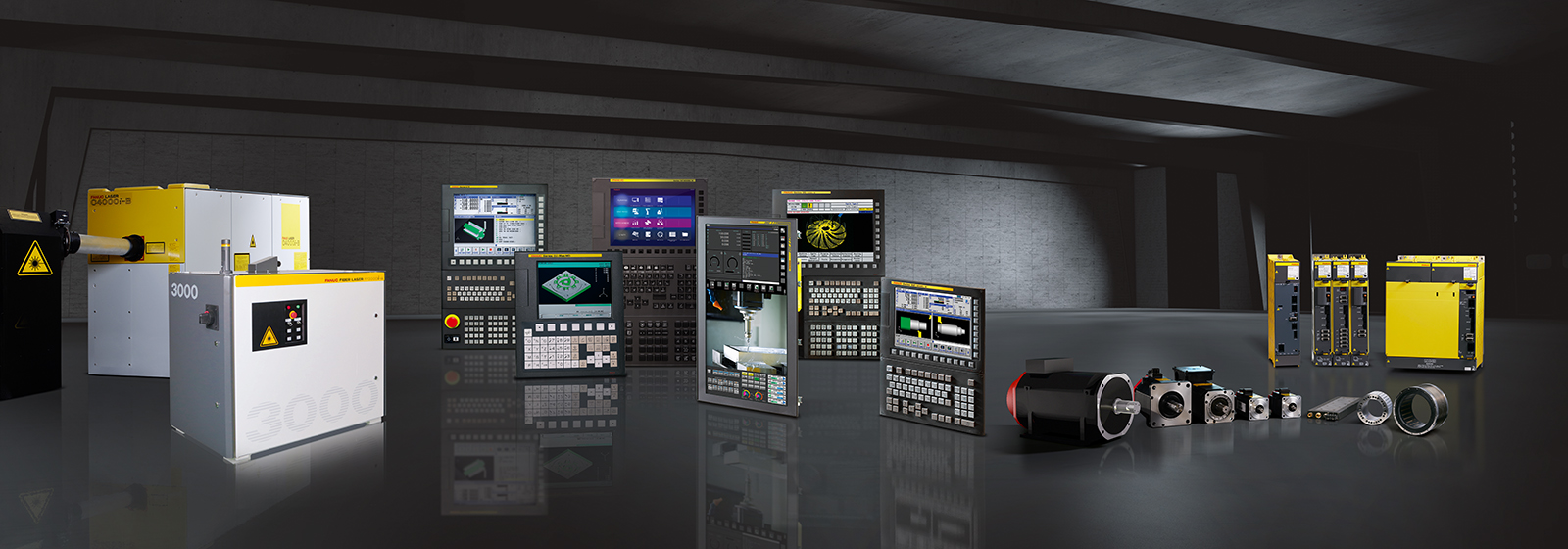 Fanuc CNC system range overview with laser, controls and drive systems