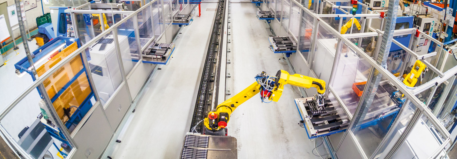 Robot on rail handling materials